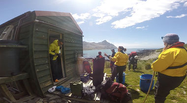 One field team from 'Team Rat' have been living in tents or in the field huts