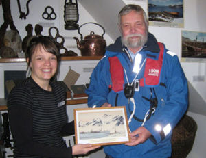 Robert Headland presenting painting to Museum on behalf of the South Georgia Association