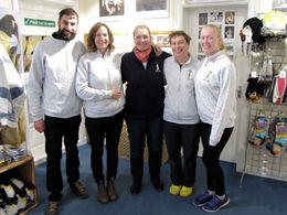 L to R: Jérôme, Jayne, Sarah, Hannah and Caitlin looking professional in their new uniform fleece
