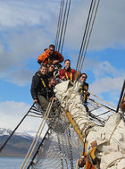 Enjoying a different perspective from the bowsprit of Bark Europa