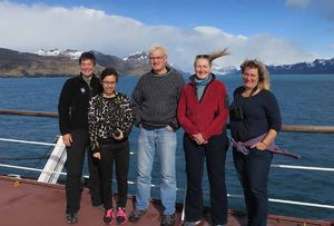 Arriving on Pharos SG. Kerstin, Charlotte, Pat, Sarah and Vickie