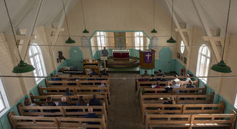 Crew members of HMS Clyde and some of the locals attended a Remembrance Service in the Church at Grytviken