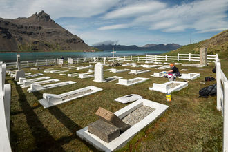 A nice job on a warm sunny day to repaint the grave surrounds in the Grytviken cemetery...