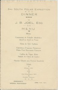 Menu and signatures from a dinner to raise funds for the expedition Image ©Dundee Heritage Trust