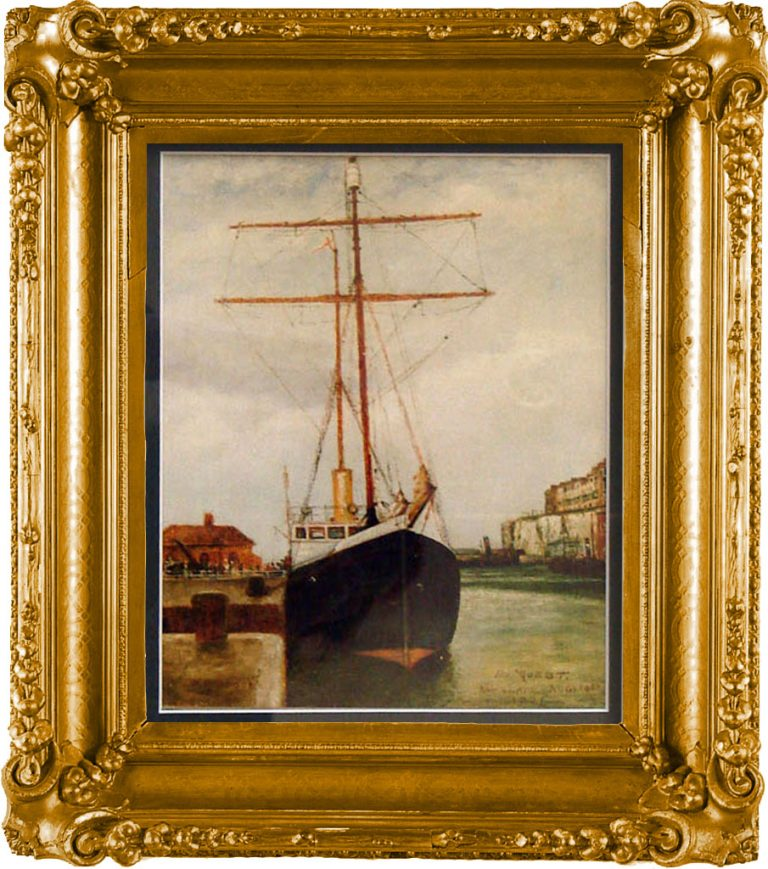 Print of watercolour painting of Sir Ernest Shackleton's ship Quest. Shackleton was elected to the Royal Yacht Squadron, an honour that entitled Quest to fly the white ensign. South Georgia Museum.1995.6.216