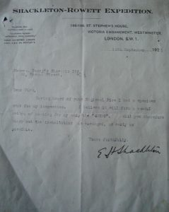 Letter from Shackleton (on behalf of the Shackleton-Rowett Expedition) to Berry's Electric Ltd., 85 Newman Street, London. Dated 15 September 1921. South Georgia Museum.2007.1