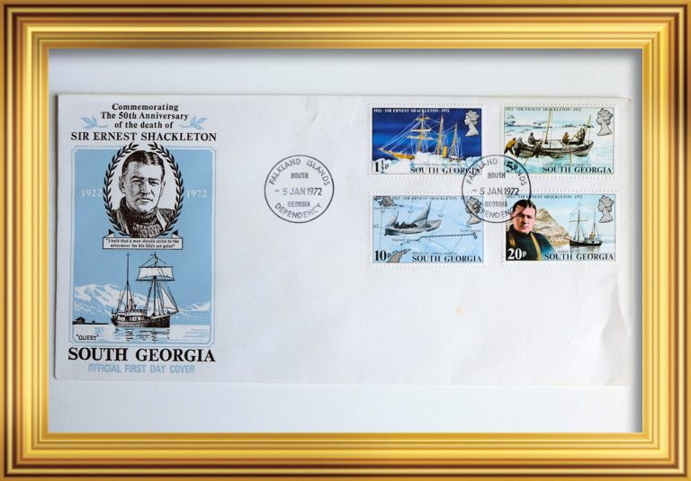 Commemorative Stamps – 50th Anniversary of the Death of Sir Ernest Shackleton First day cover.