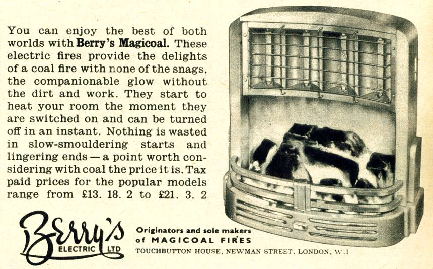 Berry's Magicoal electric fire advertisement (Image courtesy of Grace's Guide to British Industrial History