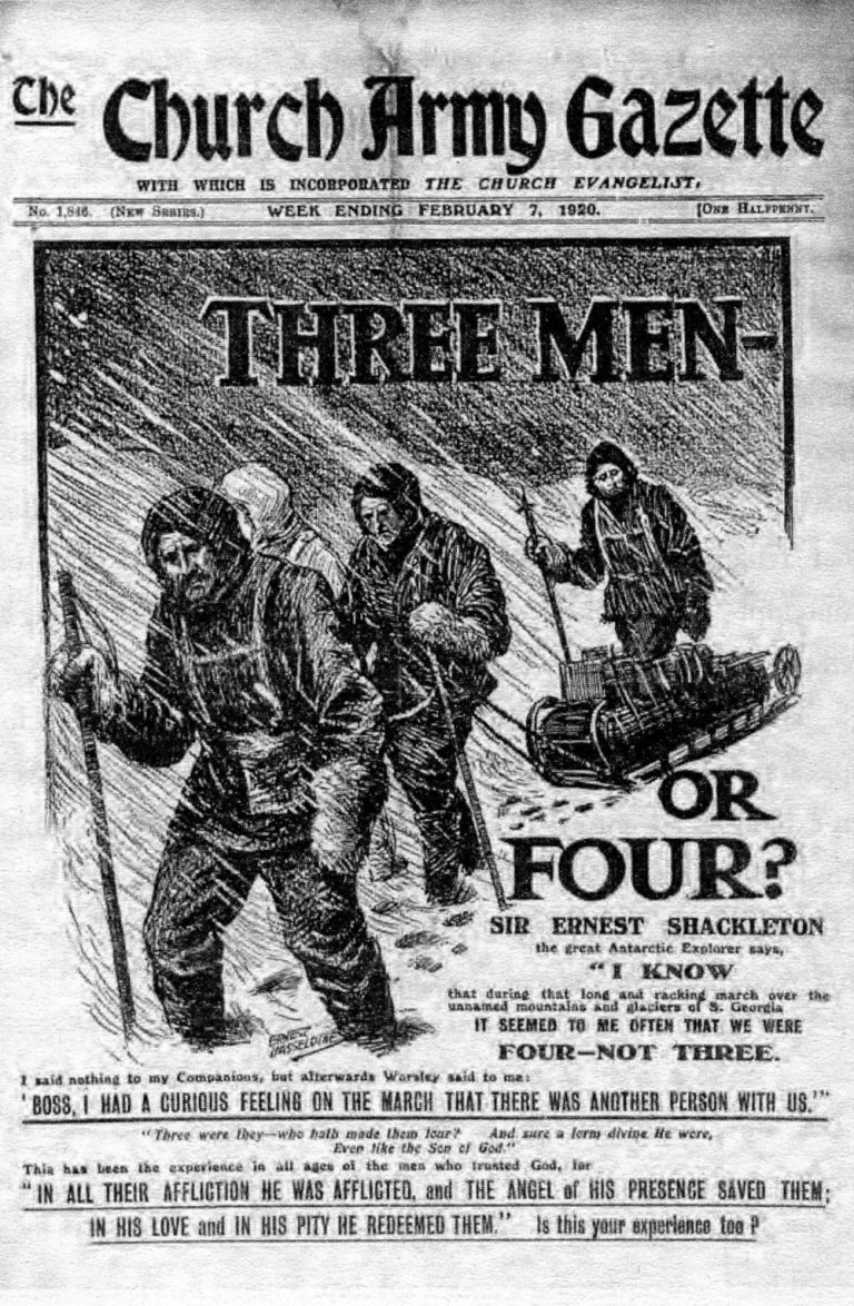 Shackleton, Worsley and Crean had the strange feeling that there had been a fourth person accompanying them on the gruelling trek across South Georgia in 1916 South Georgia Museum Archives