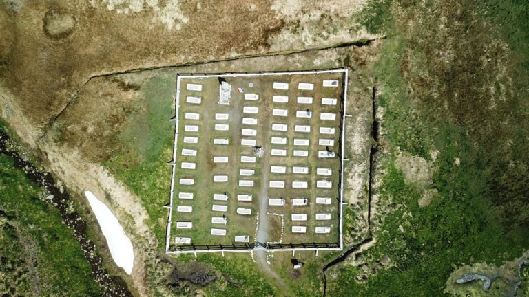 An aerial view of the Grytviken cemetery as it is today. Shackleton's grave stands out from the rest, facing South toward the Antarctic.