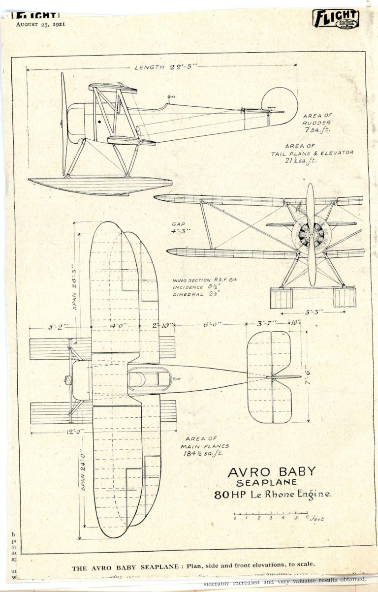 Detailed illustration of the Avro 'baby' sea plane Image courtesy of Rowett-Chojecki Family Collection