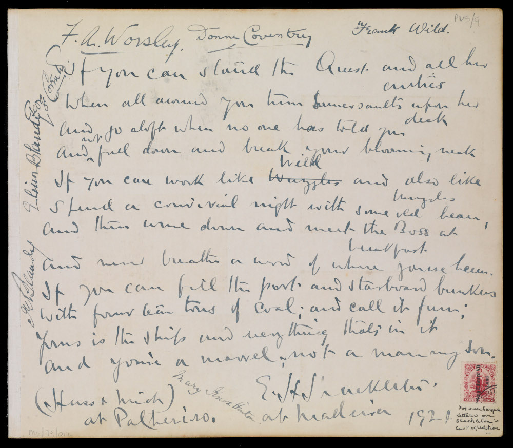 Adaptation of Kipling's 'If' poem, signed by the officers of the Quest. Shackleton gave a copy of the original poem to each of the crew. Image ©Royal Museums Greenwich