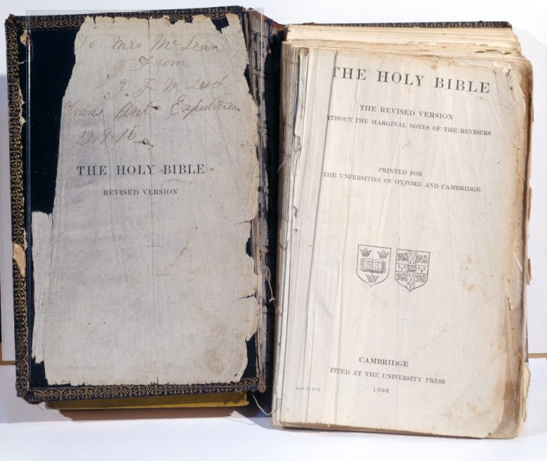 Shackleton tore several pages out of the bible to keep with him when they abandoned Endurance to sink in the ice. Another crew member retrieved the bible and carried it home. It is now in the collection of the Royal Geographical Society Image © Royal Geographical Society