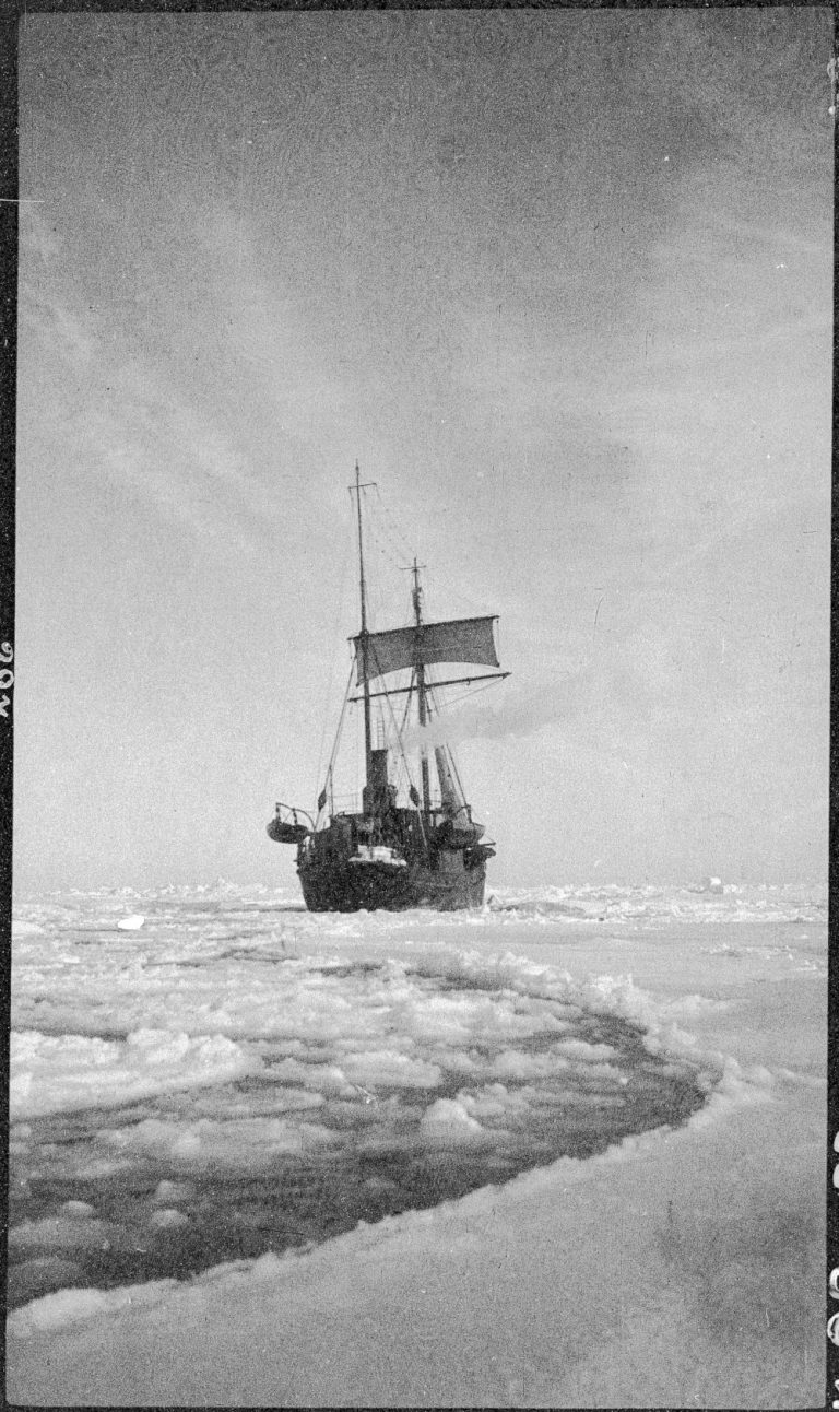 Quest powering through pack ice in the Weddell Sea Image courtesy of State Library of New South Wales