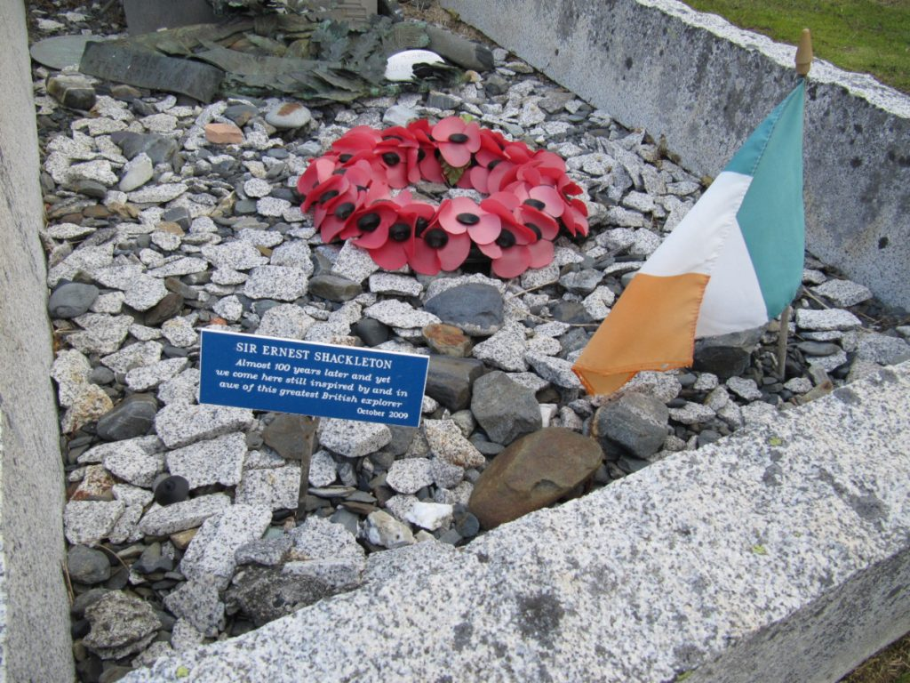 Memorials and presents are still left on Shackleton's grave today South Georgia Museum Archives